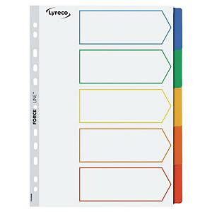 LYRECO MYLAR MULTI COLOUR A4 5-PART TABBED INDEX SUBJECT DIVIDERS