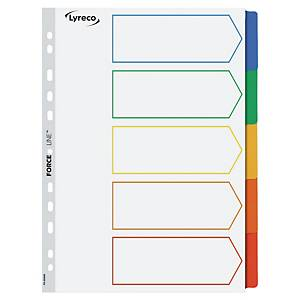 Lyreco Multi Colour A4 Mylar 5-Part Dividers