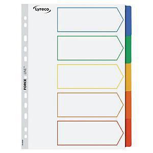 Przekładki kartonowe LYRECO z laminowanymi kolorowymi indeksami A4 5 stron