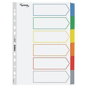Conjunto 6 separadores alfabéticos Lyreco - A4 - cartolina - branco