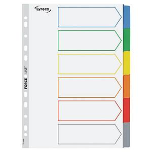 LYRECO Mylar Tabbed Divider A4 6 Part 6 Colours