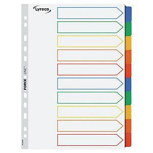 Lyreco neutrale tabbladen, A4, karton 170 g en mylar, 11-gaats, per 10 tabs