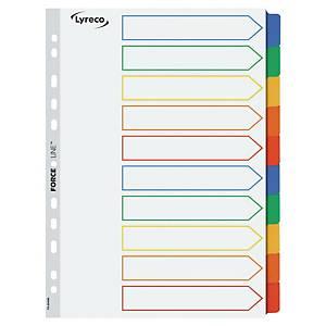 Faneblade Lyreco, 10-delt, A4, karton, hvid