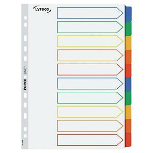 LYRECO MYLAR MULTI COLOUR A4 10-PART TABBED INDEX SUBJECT DIVIDERS