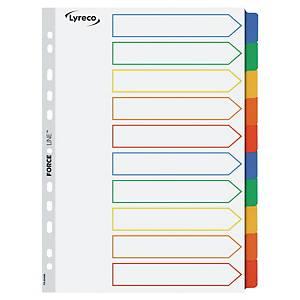 Przekładki kartonowe LYRECO z laminowanymi kolorowymi indeksami A4, 10 stron