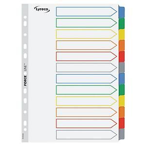 Lyreco 12-részes elválasztólapok színes regiszterekkel, Mylar kartonból