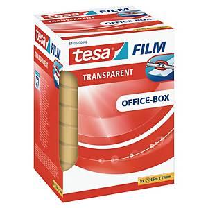 Tape Tesa, klar, 19 mm x 66 m, æske a 8 ruller