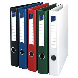 Classeur Lyreco 4 anneaux O de 25 mm, A4, carton avec PP, bleu, le classeur