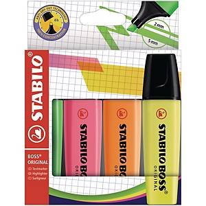 Leuchtmarker Stabilo Boss Original 70/4, Strichbreite 2-5 mm, 4er-Set, ass.