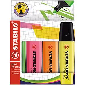 Overstrykningspenn Stabilo Boss Original, assorterte farger, etui à 4 stk.