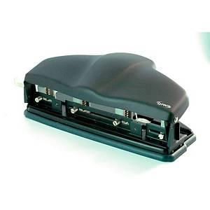 Lyreco 4-hole adjustable paper punch steel black 30 sheets