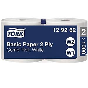 Tork Basic Paper Combi Roll W1 poetsdoek, 2-laags, 1.000 vellen, per 2 rollen