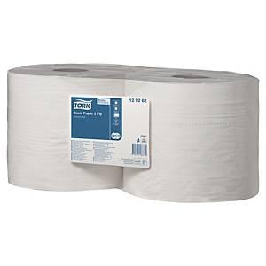 Industriruller Tork W1/W2 Basic, 2-lags, hvit, pakke à 2 ruller