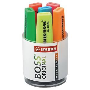 Highlighter Stabilo Boss Original, skrivebordssæt, dåse a 6 farver