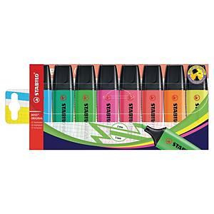 Estojo com 8 marcadores fluorescentes Stabilo Boss - sortido