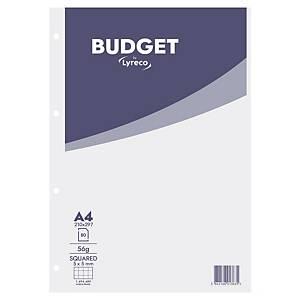 Bloc-notes Lyreco Budget A4, carreaux 5 x 5 mm, collé en tête, 80 feuilles