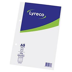 Feuilles perforées Lyreco A5, 60 g/m2, 5 mm à carreaux, bloc de 80 feuilles
