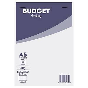 Blok z okładką Lyreco Budget, A5, kratka, 50 kartek, mikroperforacja