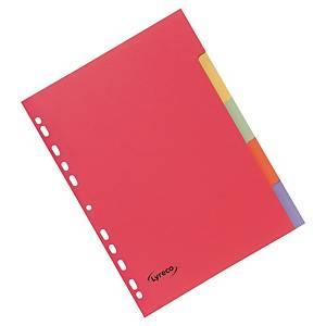 Lyreco neutrale tabbladen, A4, karton 240 g, 11-gaats, per 5 tabs