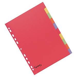 Rozdělovače kartonové Lyreco, 10-dílné - jasné barvy