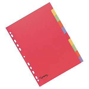 Lyreco Assorted Bright Colour A4 10 Part Dividers 240gsm