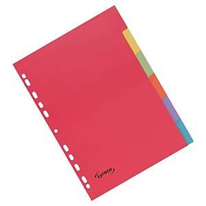Lyreco neutrale tabbladen, A4, karton 240 g, 11-gaats, per 6 tabs
