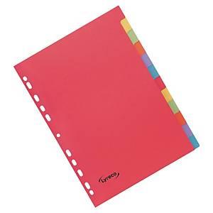 Register Lyreco blanko, A4, aus Karton, 12 Blatt, farbig