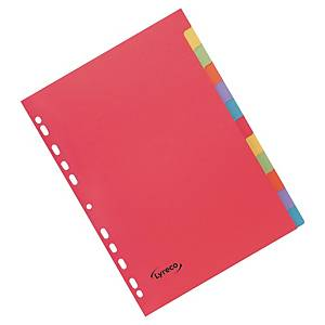 Rozdělovače kartonové Lyreco, 12-dílné - jasné barvy