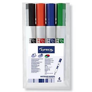 Lyreco valkotaulukynä pyöreä 1,5-3mm värilajitelma, 1 kpl=4 kynää