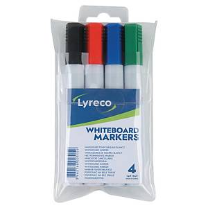 Popisovače na biele tabule Lyreco, guľatý hrot, balenie 4 farieb
