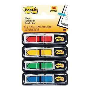 Post-It Index Flags Arrows 12mm 25 Each In 4 Colours