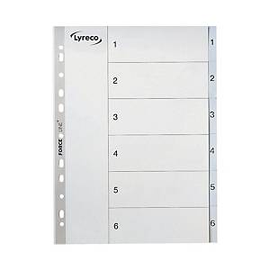 Lyreco A4 Printed Indices 120 Micron 1 - 6 Index File Dividers Grey