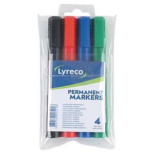 Permanent marker Lyreco, skrå, etui a 4 farver