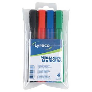 Lyreco permanent markers bullet tip 1,5mm assorted colours - box of 4
