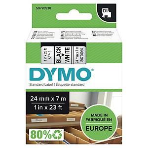 Teksttape Dymo D1, 24 mm, sort/hvid