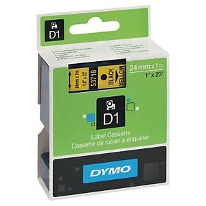 Dymo 53718 D1 etiketteerlint op tape, 24 mm, zwart op geel