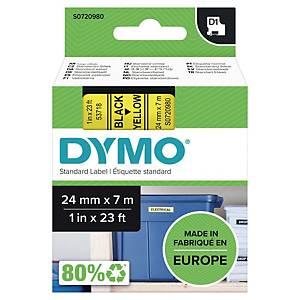 Märkband Dymo D1, 24 mm, gult/svart