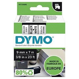 Merketape Dymo D1, 9 mm, sort/hvit