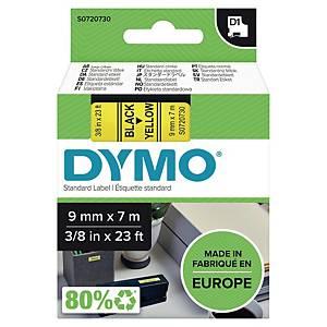 Merketape Dymo D1, 9 mm, sort/gul