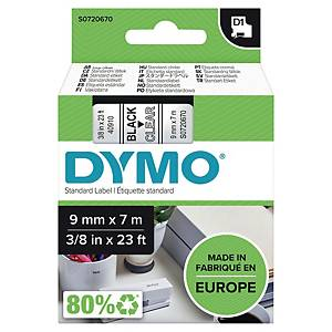 Dymo D1 Labels, Black Print On Clear, 9mm X 7M