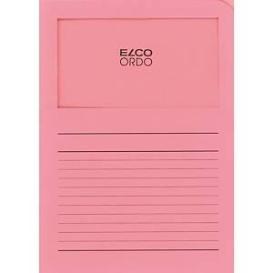 Elco 420503 Ordo pochettes coins avec fenêtre roses - boîte de 100
