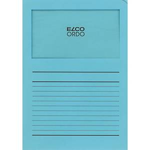 Chemise coin Elco 420513 Ordo Classico à fenêtre, A4, papier, bleu clair, 100x