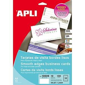 Caixa 100 cartões de visita Apli - 89 x 51 mm - 200 g