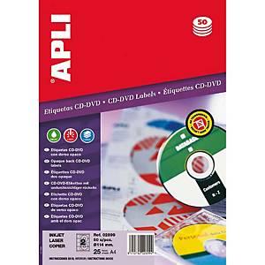 Caixa 50 etiquetas para CD/DVD Apli 2899 - Ø 114mm - Branco opaco