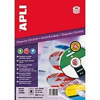 Caja de 50 etiquetas para CD/DVD Apli 2899 - Ø 114 mm - blanco opaco