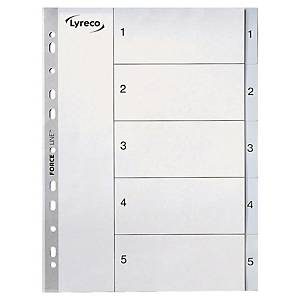 LYRECO POLYPROPYLENE GREY A4 1-5 NUMBERED TABBED INDEX SUBJECT DIVIDERS
