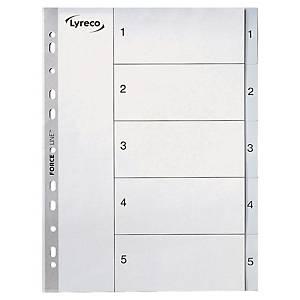 Register Lyreco, 1-5, plast, A4, grått