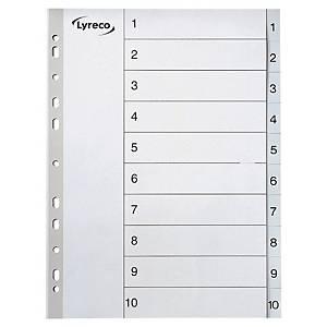 Intercalaires numériques Lyreco, A4, PP, blancs, 11 trous, 1-10 onglets