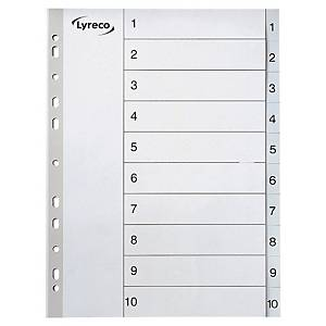 Lyreco Grey A4 Polypropylene 1-10 Indexes - Pack of 10 Sets