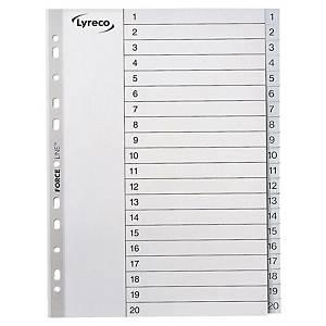 Intercalaires numériques Lyreco, A4, PP, blancs, 11 trous, 1-20 onglets